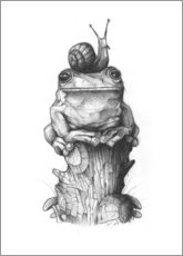 Premium poster  The frog and the snail, black and white - Mike Koubou