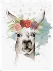Premium poster Lama with flower crown II