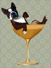 Canvas print  Boston Terrier in Cocktail Glass - Fab Funky