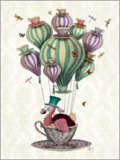 Wall sticker  Dodo in a hot air balloon - Fab Funky