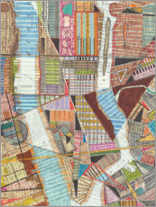 Aluminium print  Modern map of New York II - Nikki Galapon