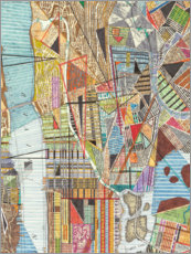 Foam board print  Modern Map of New York I - Nikki Galapon