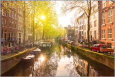Canvas print  Sunrise in the Amsterdam canals - George Pachantouris