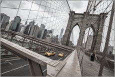 Acrylic print  Brooklyn Bridge with yellow taxis - nitrogenic