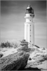Wood print  Lighthouse on the beach - Uwe Merkel