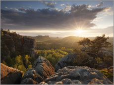 Premium poster  Sunset in the Elbe Sandstone Mountains - Tobias Richter