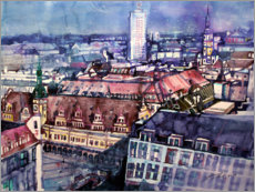 Foam board print  Old Town Hall and winter garden high-rise, Leipzig - Johann Pickl