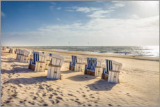 Canvas print  Beach chairs in the sunset, Sylt - Christian Müringer
