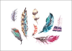 Canvas print  Rainbow feathers - Ella Tjader