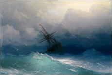 Wood print  Ship at heavy sea - Ivan Konstantinovich Aivazovsky