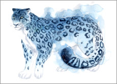 Premium poster Watercolor Snow Leopard