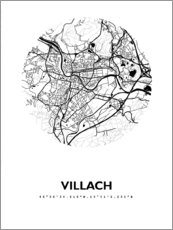 Premium poster Map of Villach