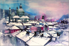 Premium poster Salzburg Cathedral district in winter