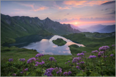 Premium poster Alpine lake in the sunset, Bavaria