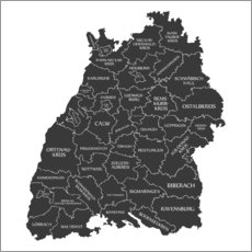 Wall sticker Counties of Baden Württemberg