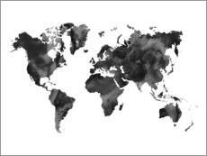 Premium poster  World Map in Black - Nouveau Prints