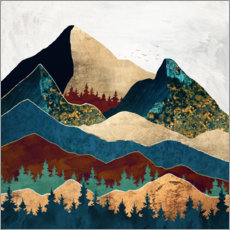 Wood print  Malachite Mountains Landscape - SpaceFrog Designs
