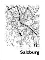 Premium poster City map of Salzburg