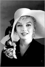 Aluminium print  Marilyn Monroe with White Hat - Celebrity Collection