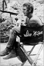 Wood print  Steve McQueen in the director's chair - Celebrity Collection