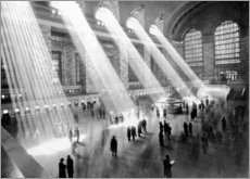 Wood print  Sunbeams into Grand Central Station