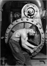 Wood print  Power house mechanic working on steam pump