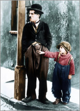 Wood print  The Kid, Charles Chaplin, Jackie Coogan