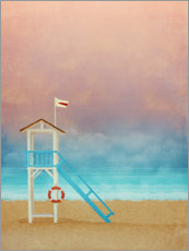 Aluminium print  Beach at sunset with life saver tower - Sybille Sterk