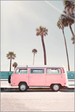 Premium poster Pink Bus under palm trees