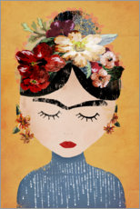 Aluminium print  Frida with flower wreath - treechild
