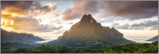 Premium poster Sunset over Moorea, French Polynesia