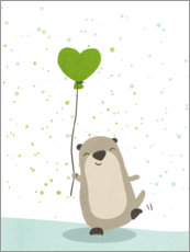 Premium poster  Otter with balloon - Julia Reyelt