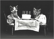 Wood print  Kitten birthday, vintage