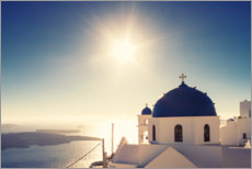 Premium poster Blue church dome on Santorini