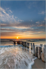Premium poster Sunset at the groyne