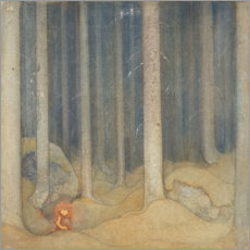 Wood print  Humpe in the enchanted forest - John Bauer