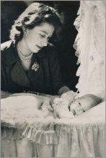 Foam board print  Princess Elizabeth with her Infant Son Prince Charles