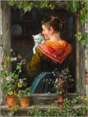 Acrylic print  Young woman with cat - Johann Sperl