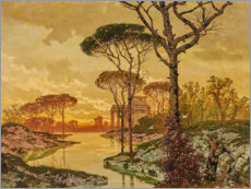 Aluminium print  Evening shore landscape with villa - Ferdinand Knab