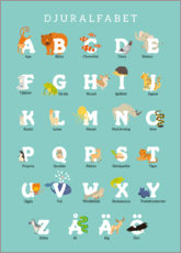 Wood print  Animal alphabet (Swedish) - Kidz Collection