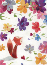 Premium poster  Fox in the sea of flowers - Aurelie Blanz