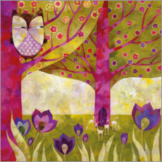 Wood print  Tree worlds in spring - Aurelie Blanz