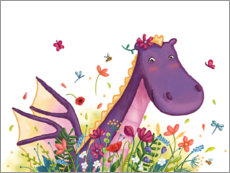 Wall sticker Dragon in the flower field