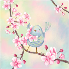 Premium poster  Bird with cherry blossoms - Tatjana Beimler