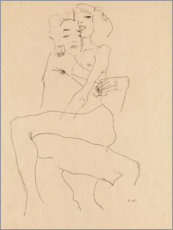 Wood print  Couple embracing - Egon Schiele