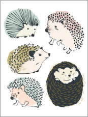 Premium poster  Cute hedgehogs I - June Vess