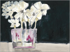 Aluminium print  White flowers in fuchsia - Jennifer Goldberger