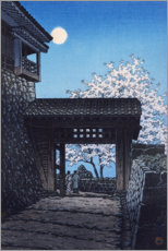 Premium poster Shining moon on Matsuyama Castle