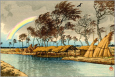 Foam board print  Rainbow at Hatta in Kaga province - Kawase Hasui