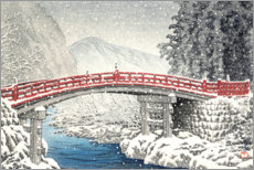 Premium poster  Shinkyo bridge in Nikko under the snow - Kawase Hasui
